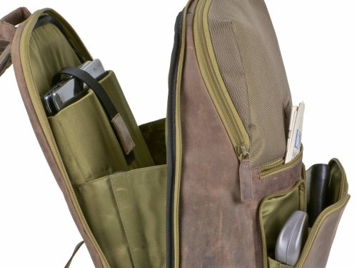 Leder/Nylon Business-Rucksack L